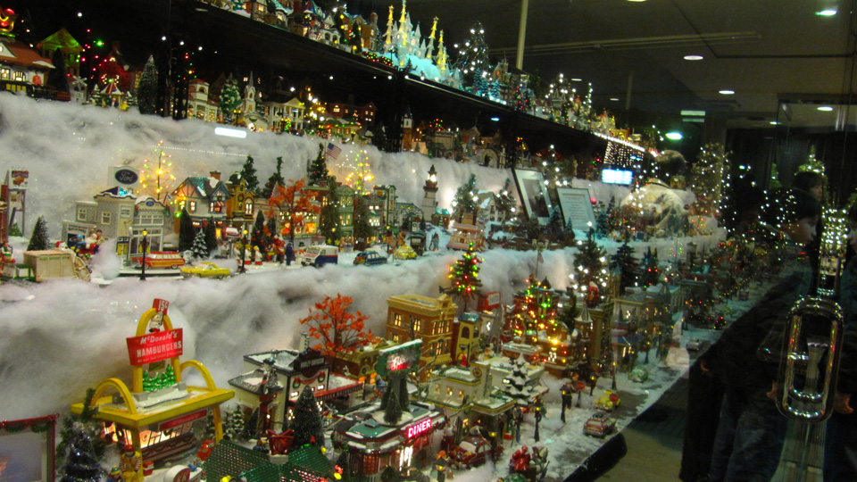 Christmas snow village at lincoln center the other side